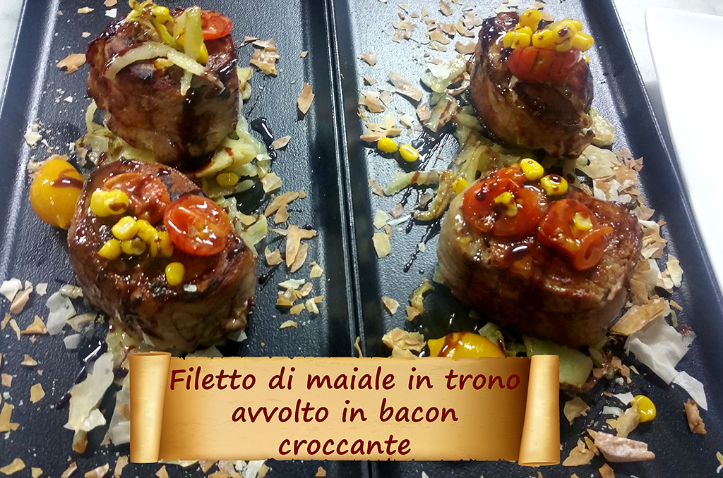 Filetto di Maiale in Trono avvolto in Bacon croccante